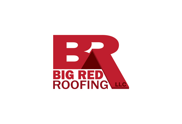 big red roofing logo design