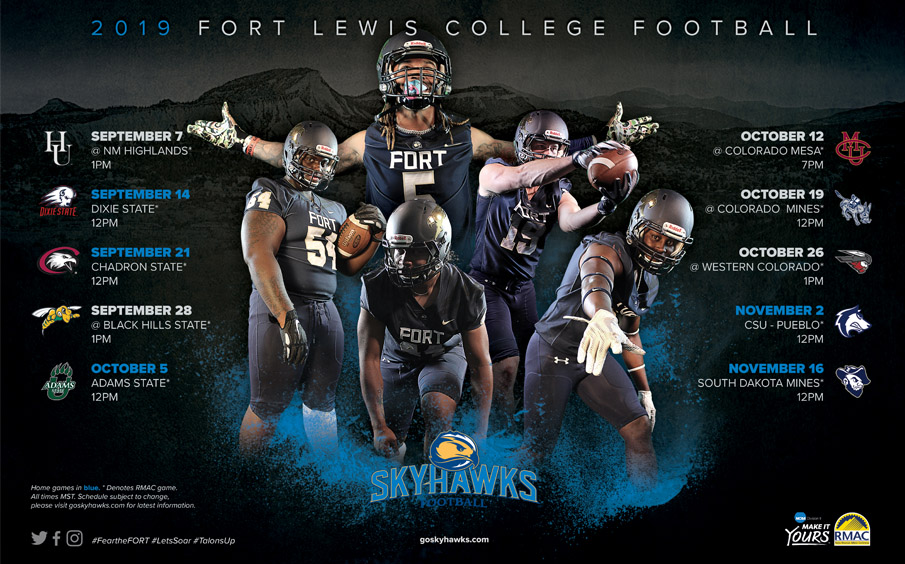 fort lewis college football schedule poster design